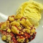 Himbeer - Crumble mit Vanilleeis - kochschläger
